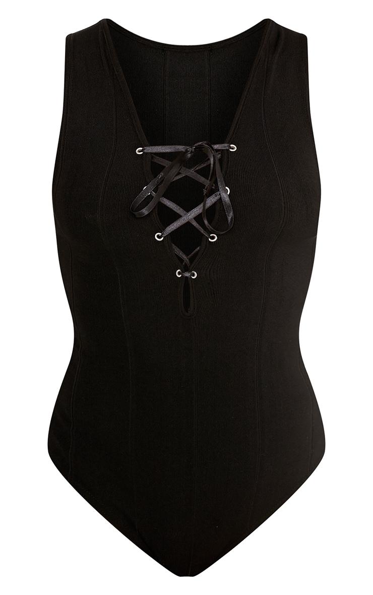 Lizzie Black Bandage Lace Up Thong Bodysuit 3