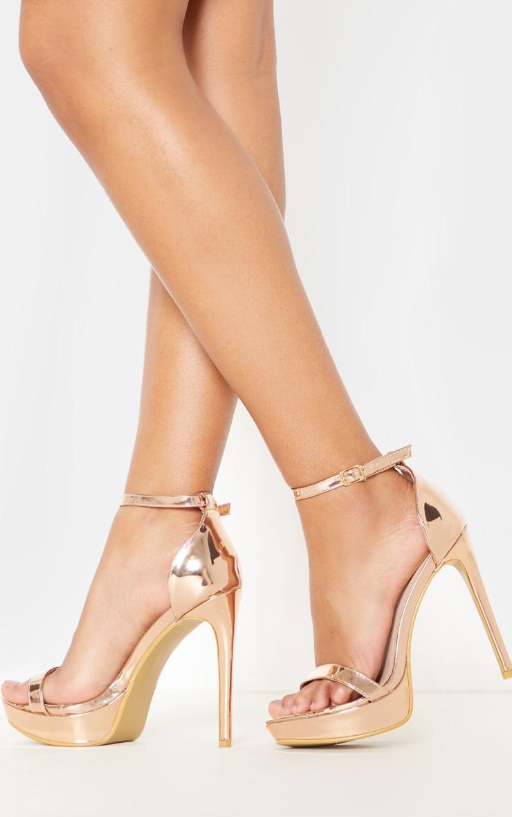 af2cff66fff Rose Gold Platform Strap Heeled Sandal image 1