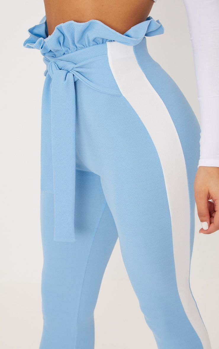 Blue Side Stripe Paperbag Skinny Pants 5