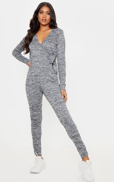 Charcoal Wrap Front Tie Waist Knitted Jumpsuit