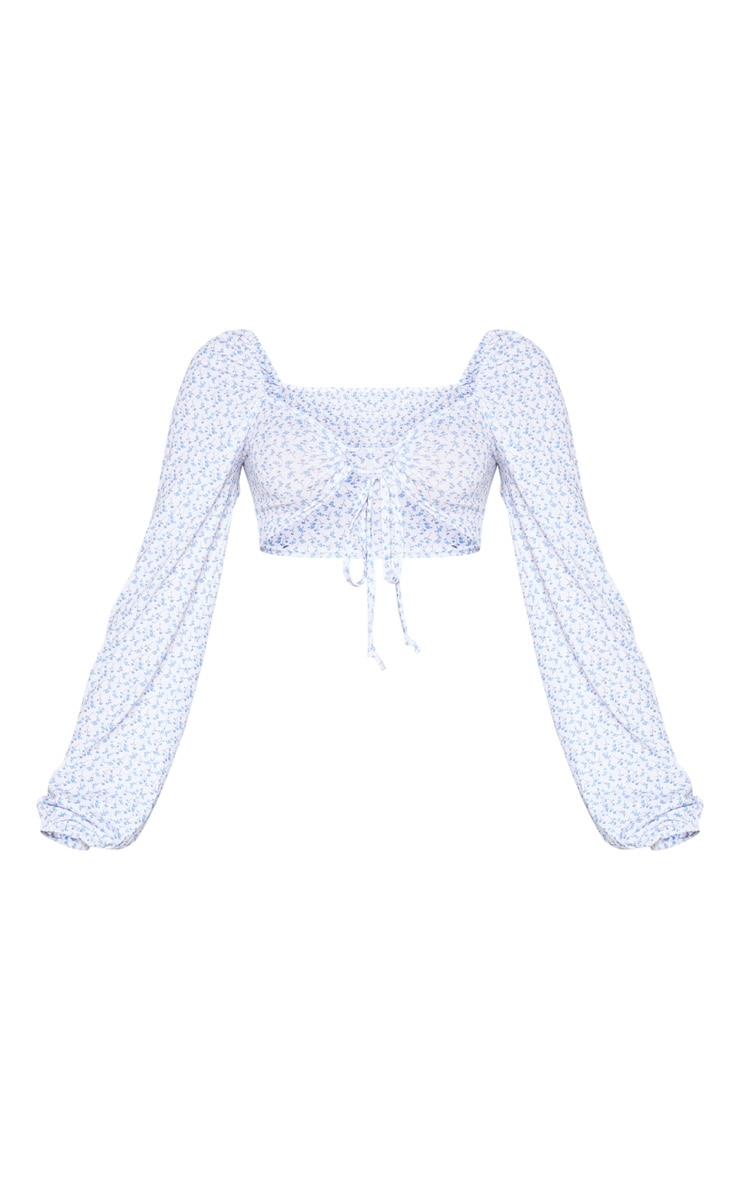 White Ditsy Print Ring Tie Crop Top 5