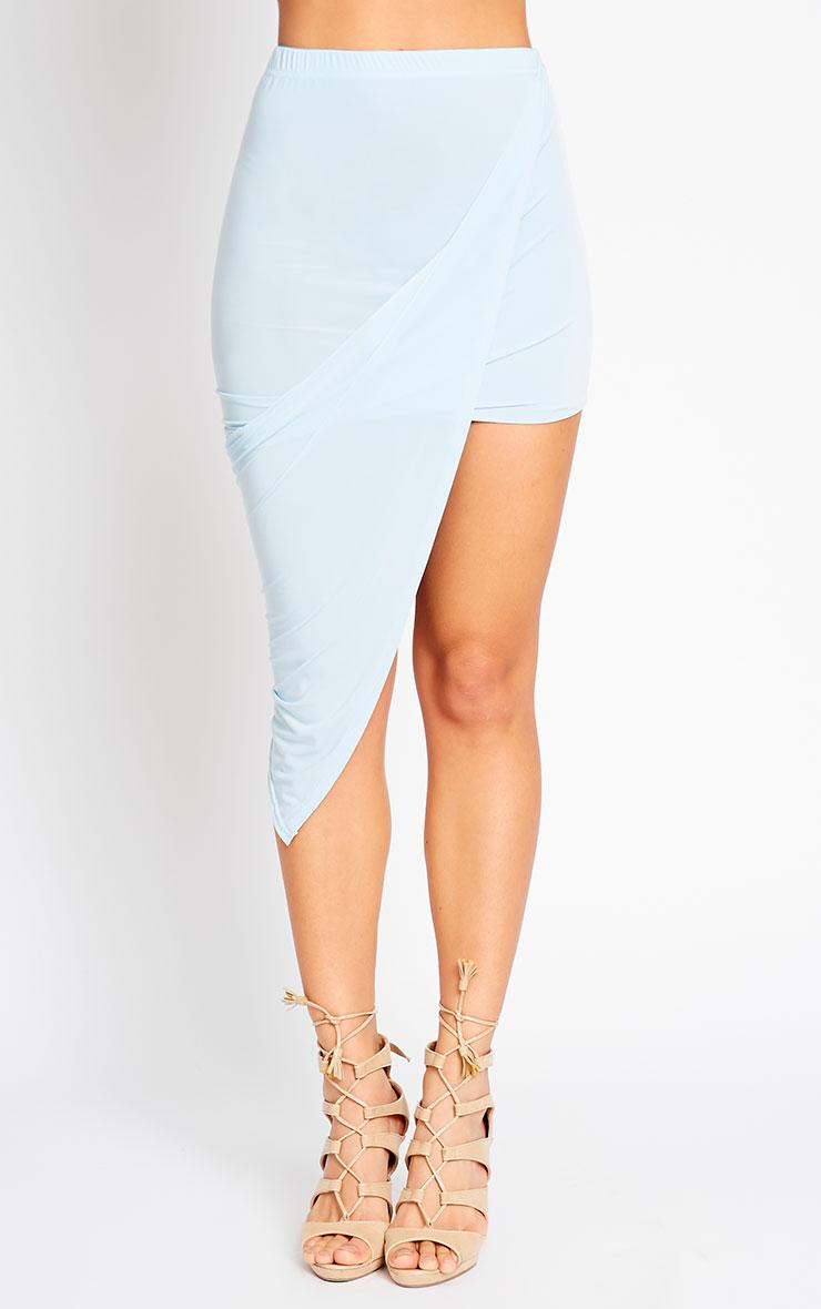 Alba Powder Blue Slinky Drape Skirt 2