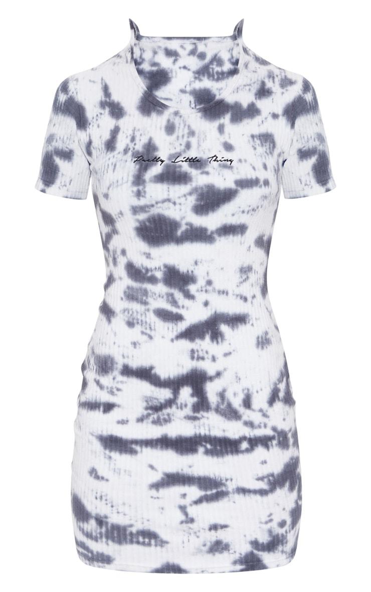PRETTYLITTLETHING Grey Embroidered Slogan Thick Rib Tie Dye Bodycon Dress 5