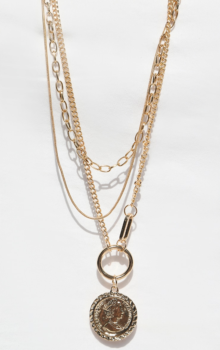 Gold Multi Coin Layering Necklace 3