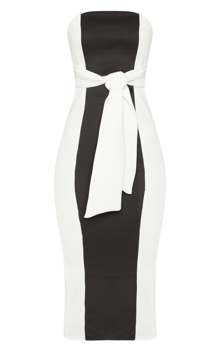 Monochrome Colour Block Tie Detail Midaxi Dress 3