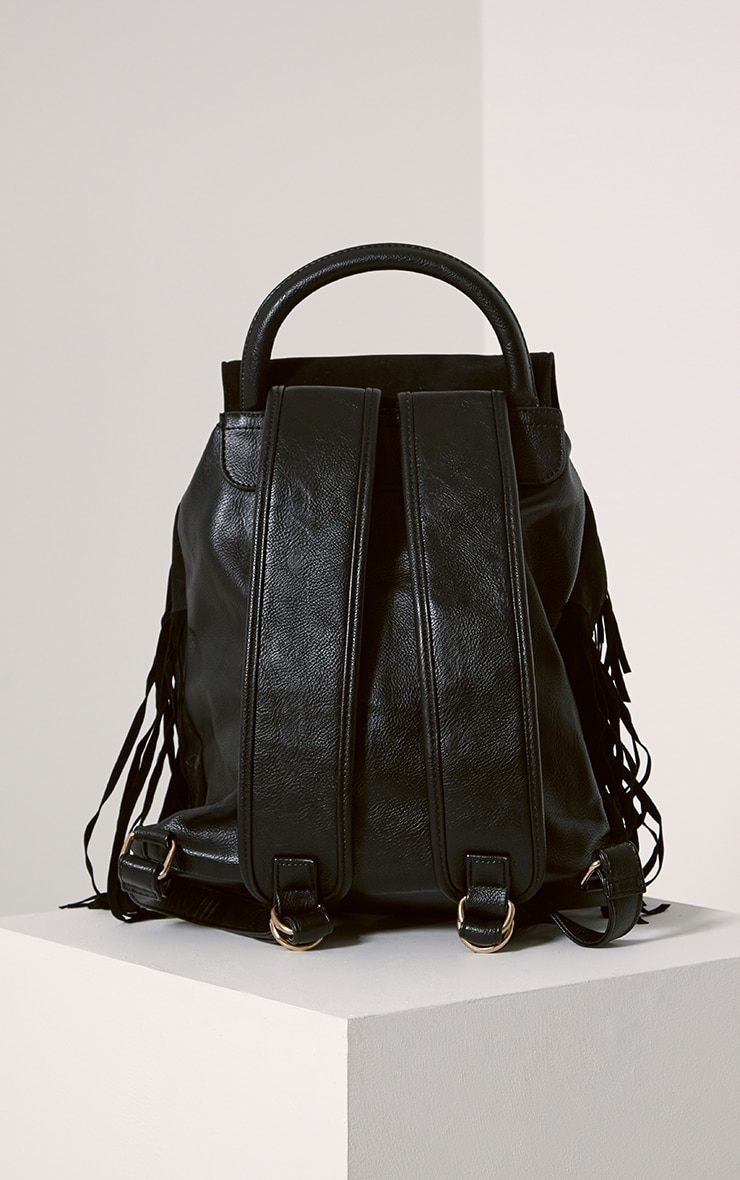 Narina Black Suede Tassel Backpack 2
