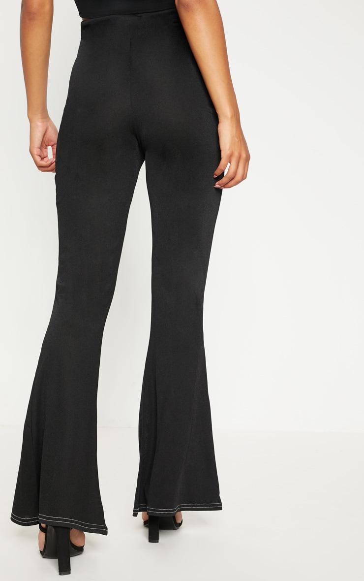 Black Contrast Stitch Flare Trouser  4