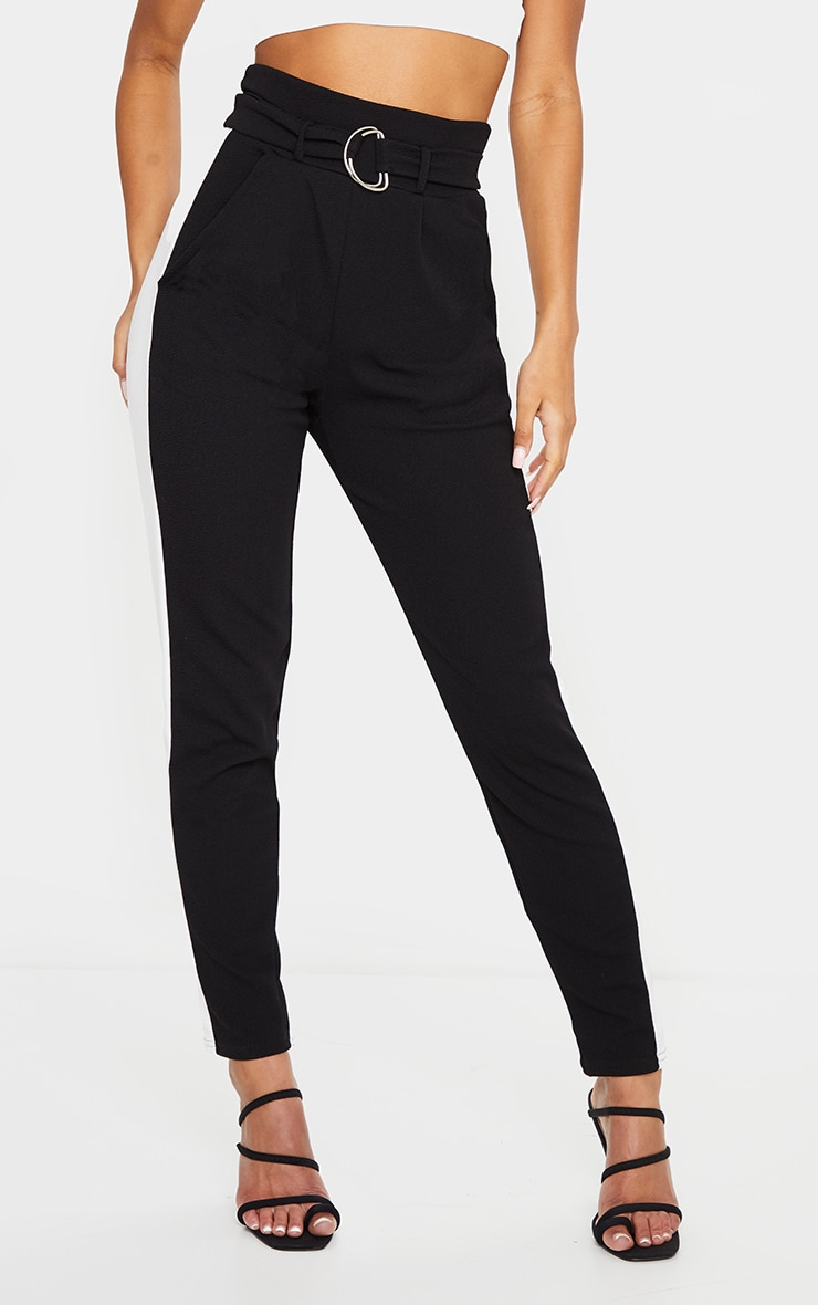 Black D Ring Contrast Panel Skinny Pants 2