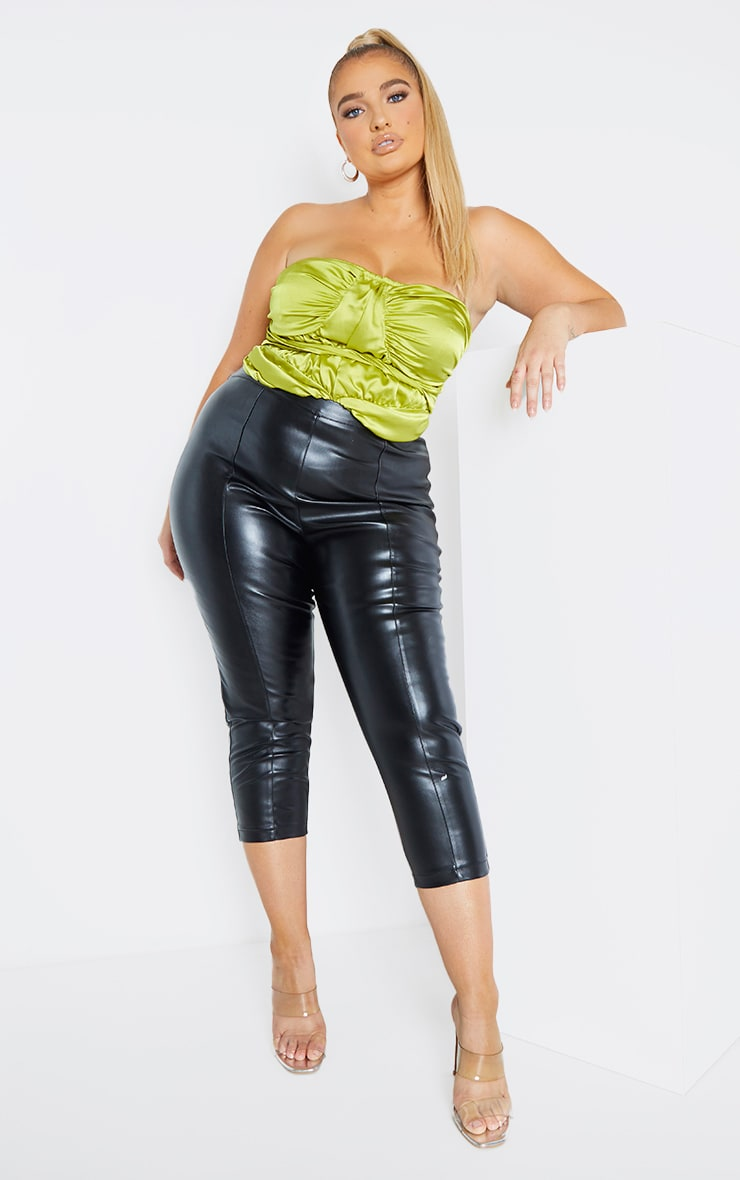 Plus Lime Satin Ruched Detail Corset Top 1