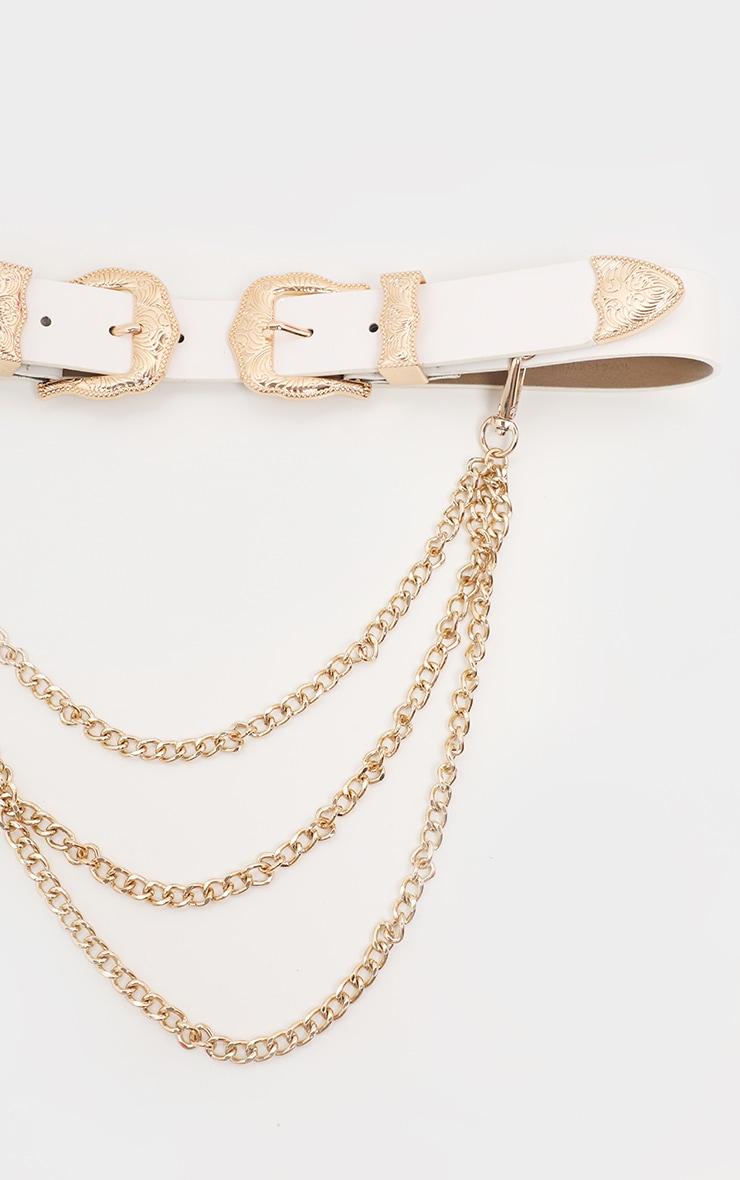 White Western Double Buckle Chain Belt 3
