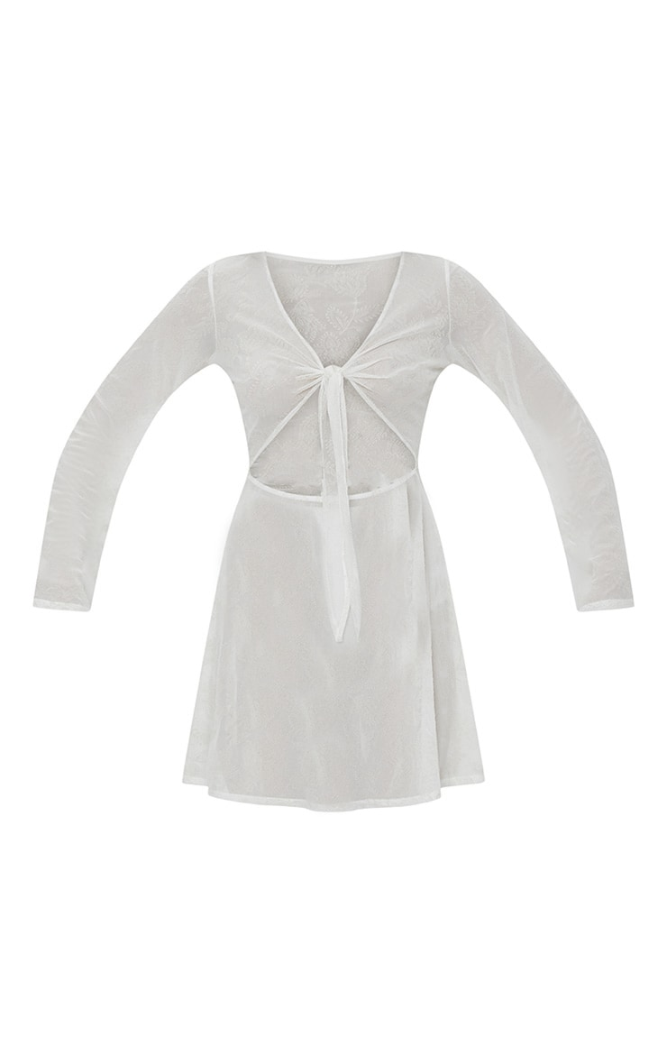 White Paisley Flocked Tie Front Skater Dress 3