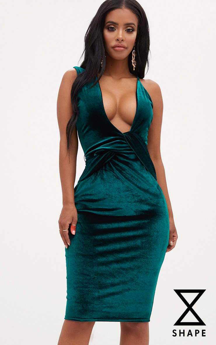 Shape Emerald Green Velvet Asymmetric Strap Bodycon Dress 1