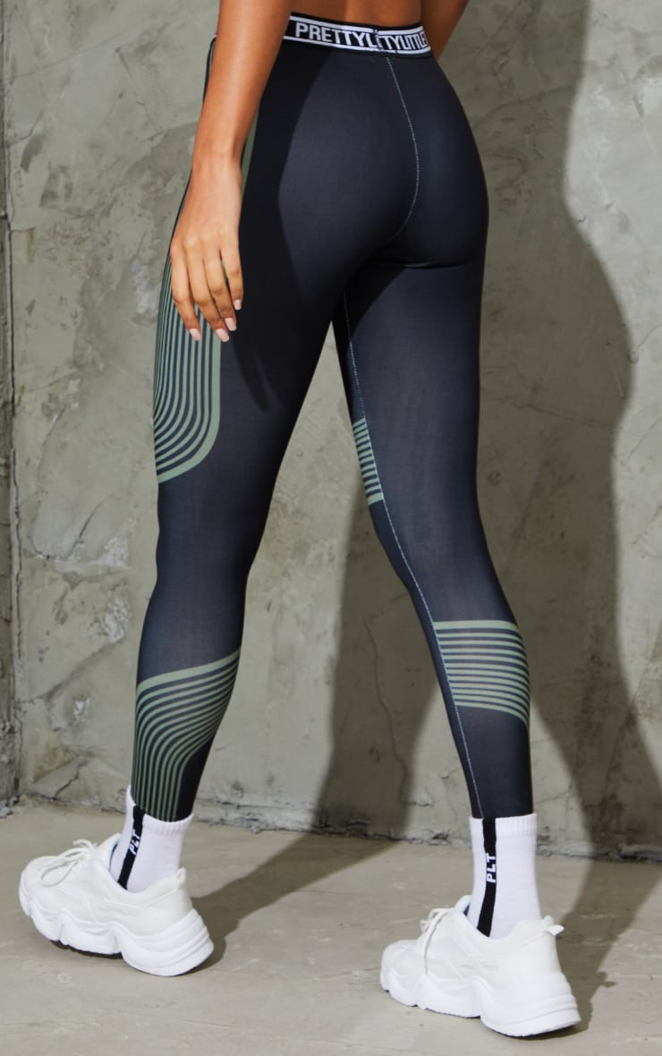 PRETTYLITTLETHING Khaki Stripe Contour Leggings 3
