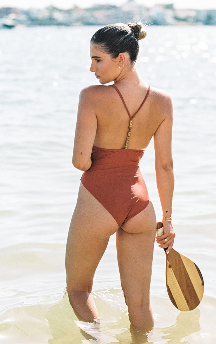 Brown Wooden Bead T Back Swimsuit 3