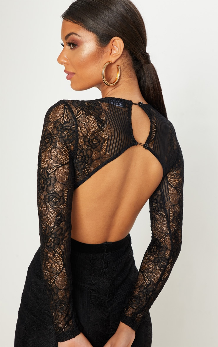 Black Lace Velvet Trim Open Back Bodycon Dress 4