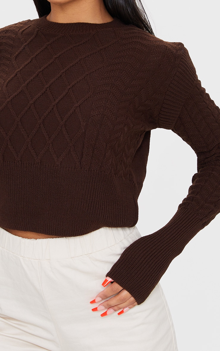 Chocolate Shoulder Detail Cable Knitted Jumper 4