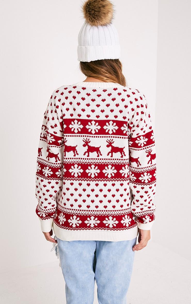 Snowflake/Reindeer White Mix Christmas Jumper 2