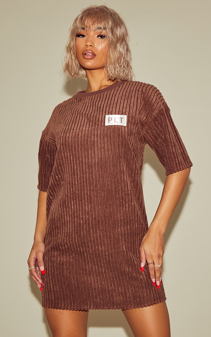 PRETTYLITTLETHING Chocolate Thick Cord T Shirt Dress 3