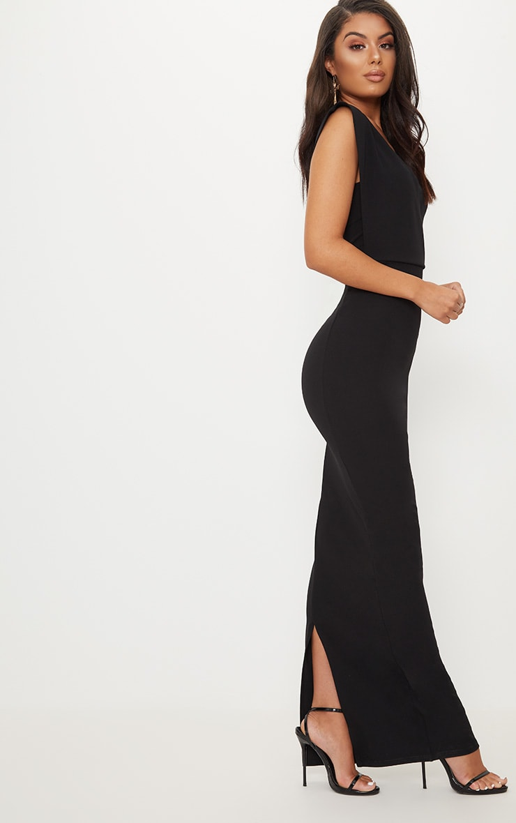Black One Shoulder Maxi Dress 4