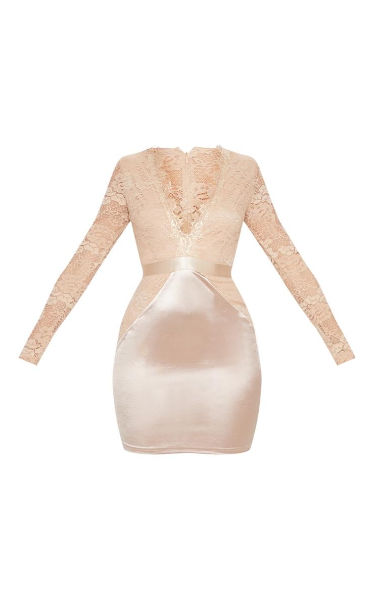 Champagne Lace Top Satin Bodycon Dress 3