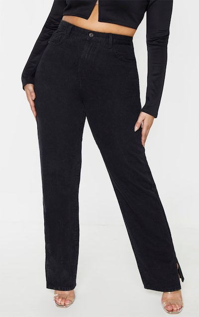 Plus Black Split Hem Jean