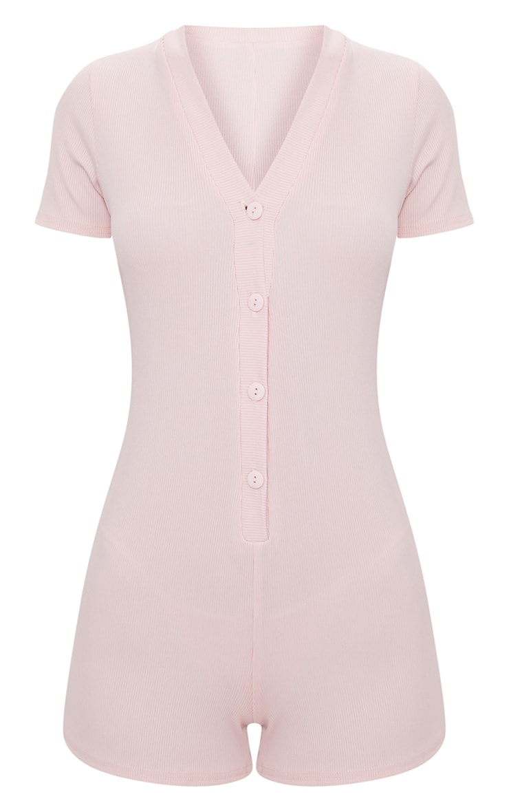 Pale Pink Ribbed Button Detail Short Sleeve PJ Romper 3