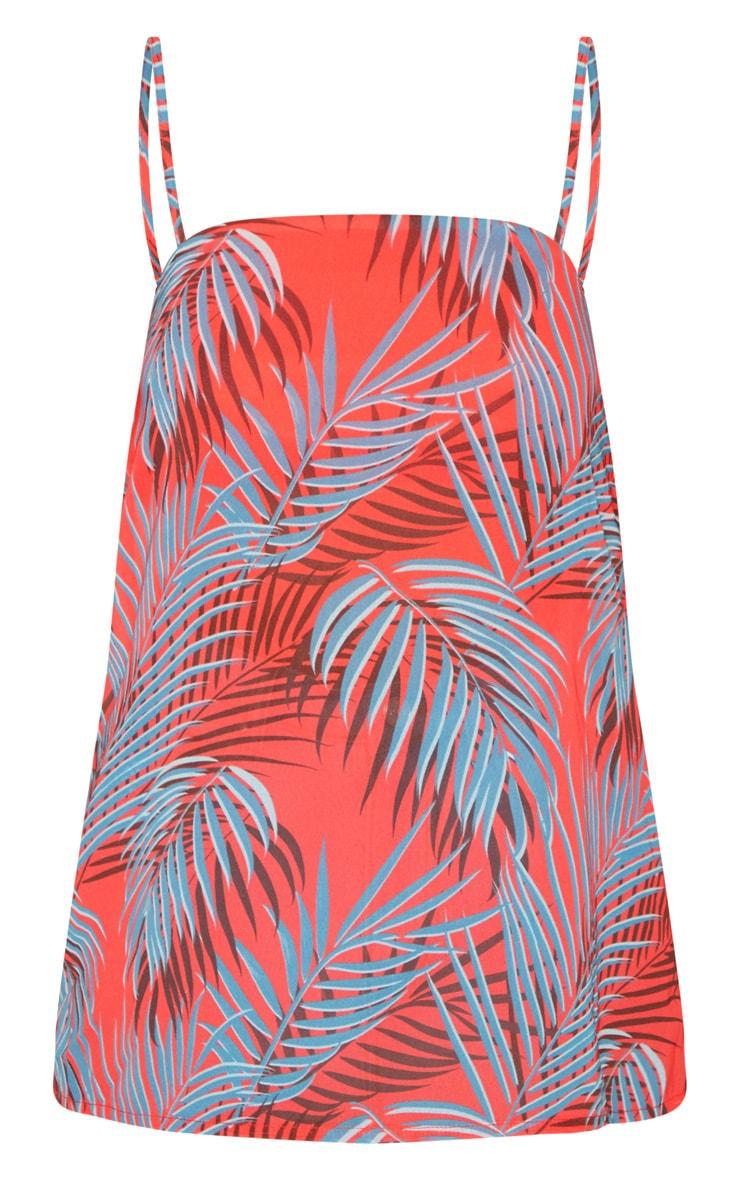 Red Leaf Printed Chiffon Longline Cami 3
