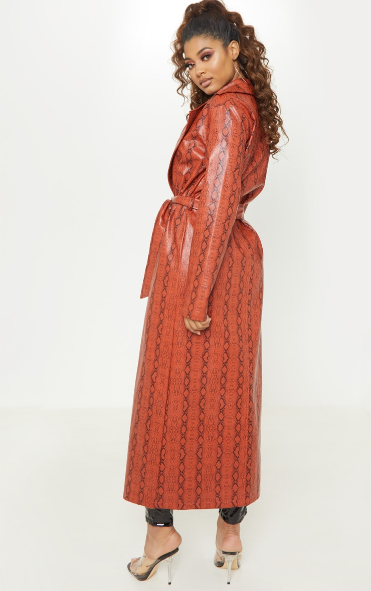 Tall Rust PU Snake Print Belted Trench Coat 2