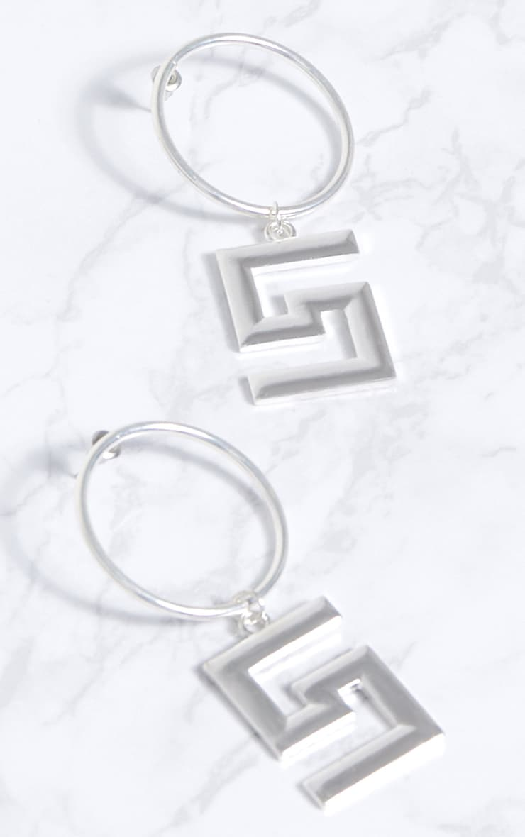 Silver Greek Key Drop Hoop Earrings 3
