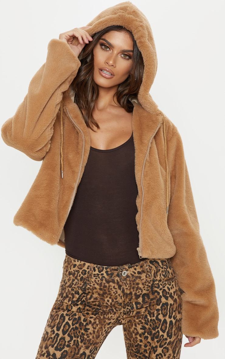 Taupe Faux Fur Cropped Hooded Jacket 1