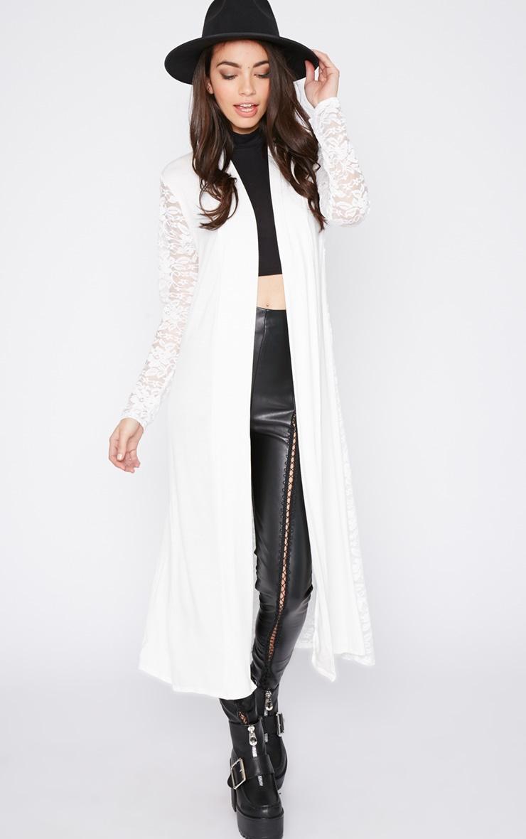 Roxie Cream Long Length Kimono  1