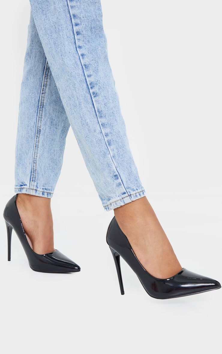 Black Patent PU High Court Heel Shoes 1