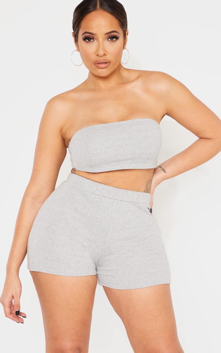 a8922de712 Shape Grey High Waisted Sweat Shorts | Curve | PrettyLittleThing USA