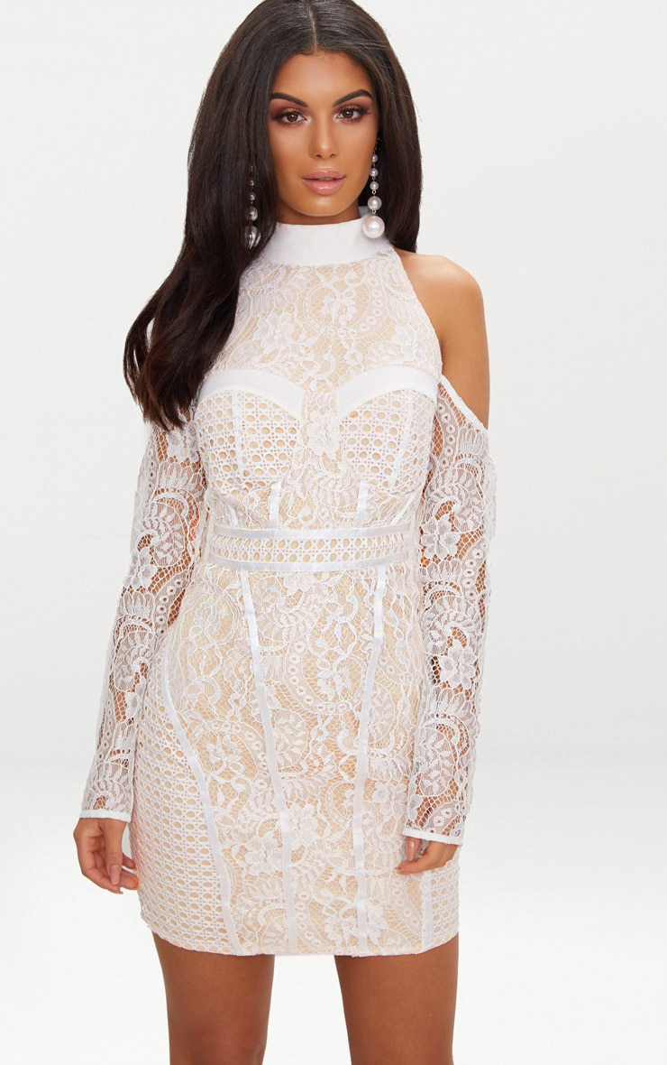 White Cold Shoulder Lace Panelled Bodycon Dress 1