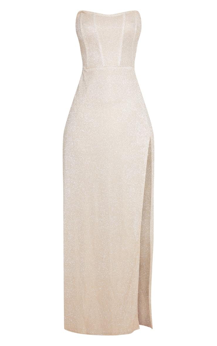 Gold Glitter Corset Extreme Split Maxi Dress 3