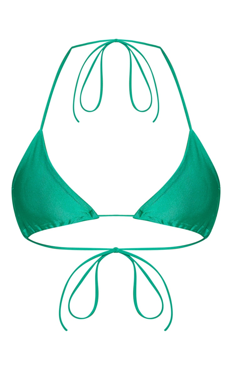 Green Skinny Strap Mini Knot Bikini Top 3