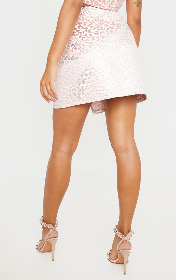 Pink Foil Print Oriental Wrap Detail Mini Skirt 3
