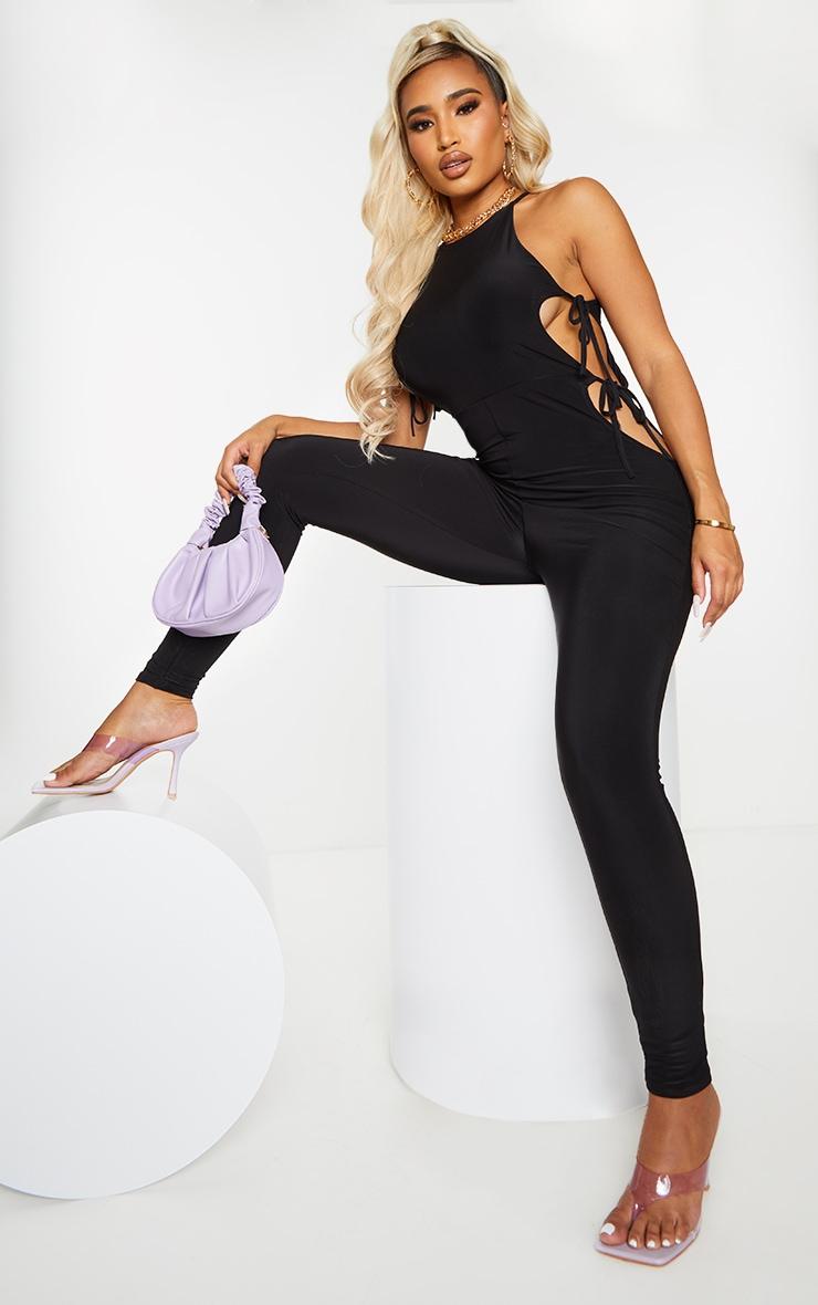 Shape Black Slinky Tie Side Cut Out Jumpsuit 1