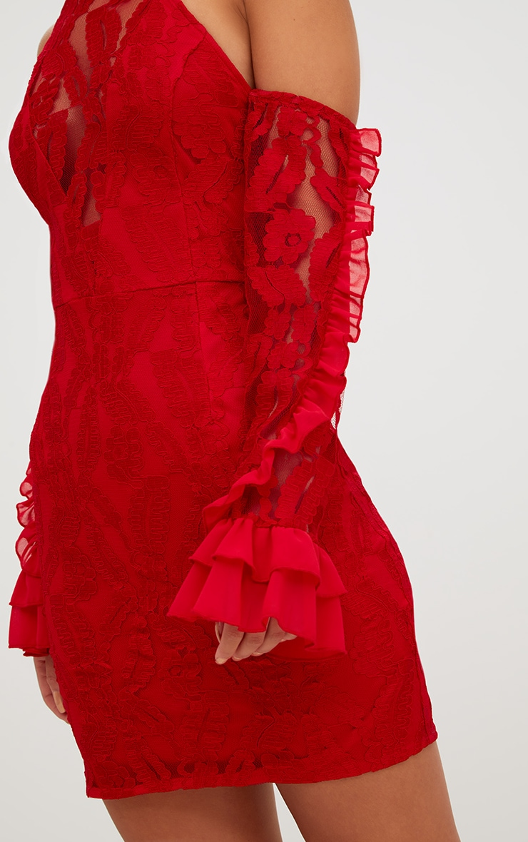 Red Lace Halterneck Frill Sleeve Bodycon Dress 5