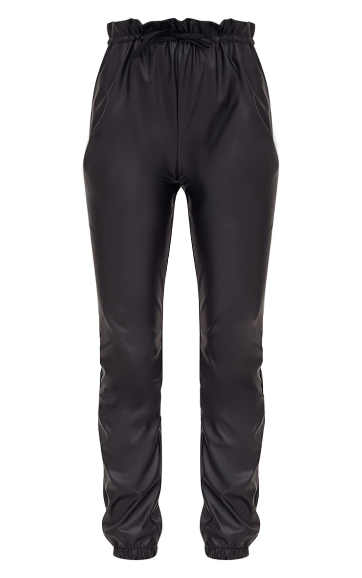 Black Faux Leather Paperbag Joggers 3