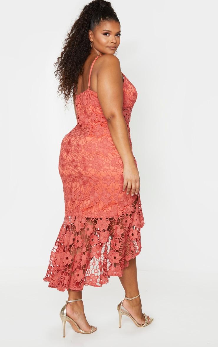 Plus Coral Lace Frill Hem Midaxi Dress 2
