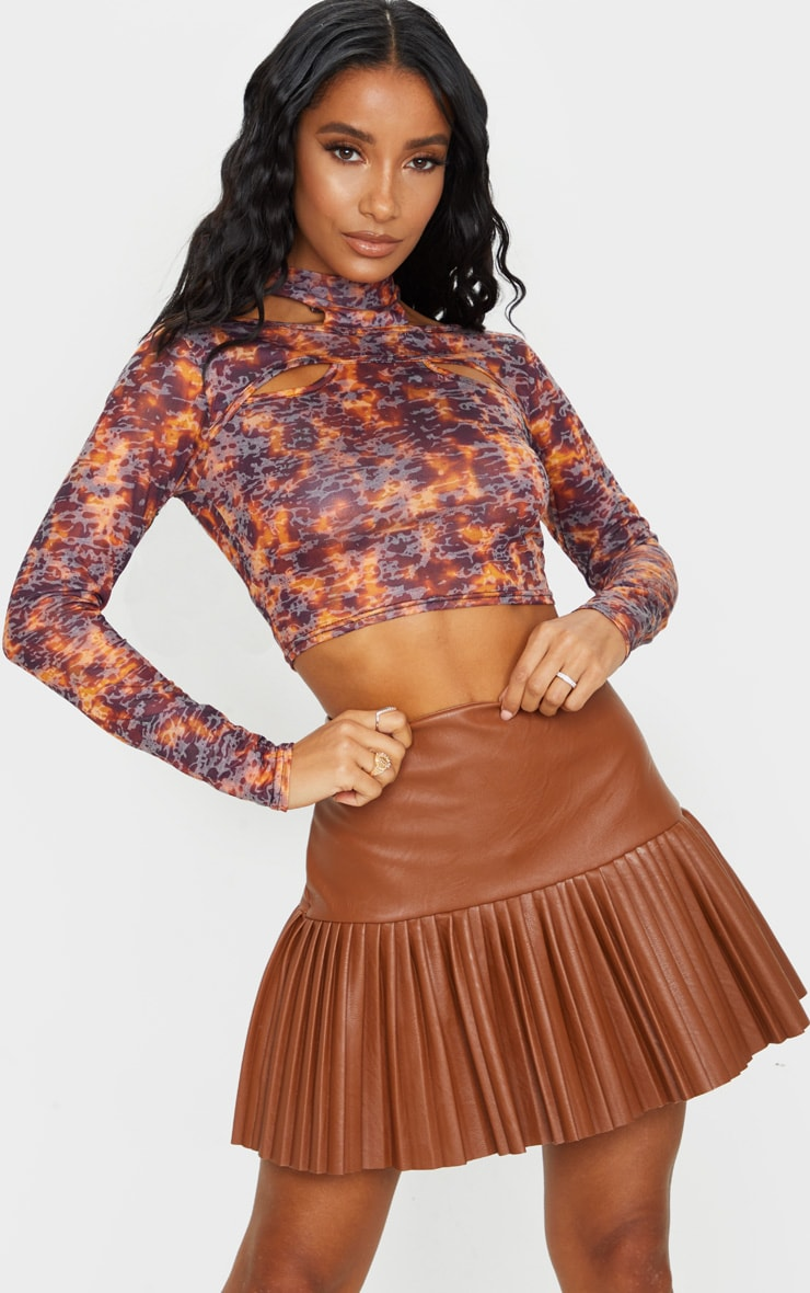 Brown Printed Jersey Cut Out Crop Top 3
