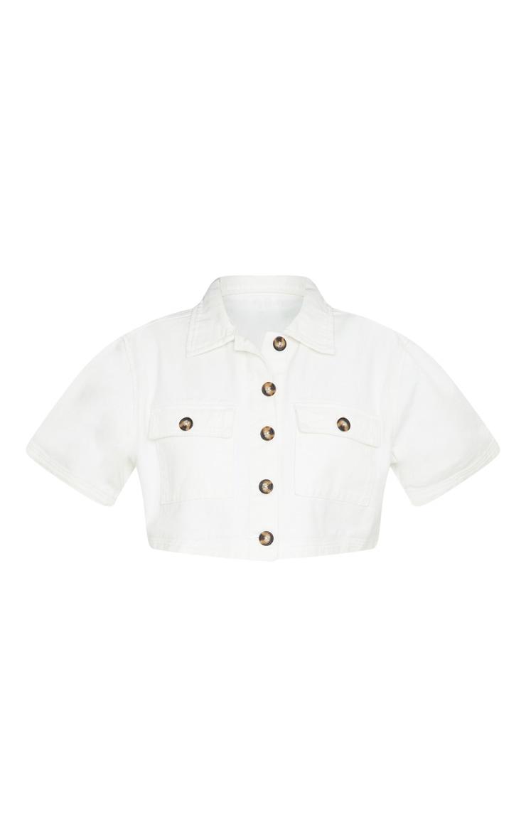 Chemise manches courtes en jean blanc à boutons et détail poches 5