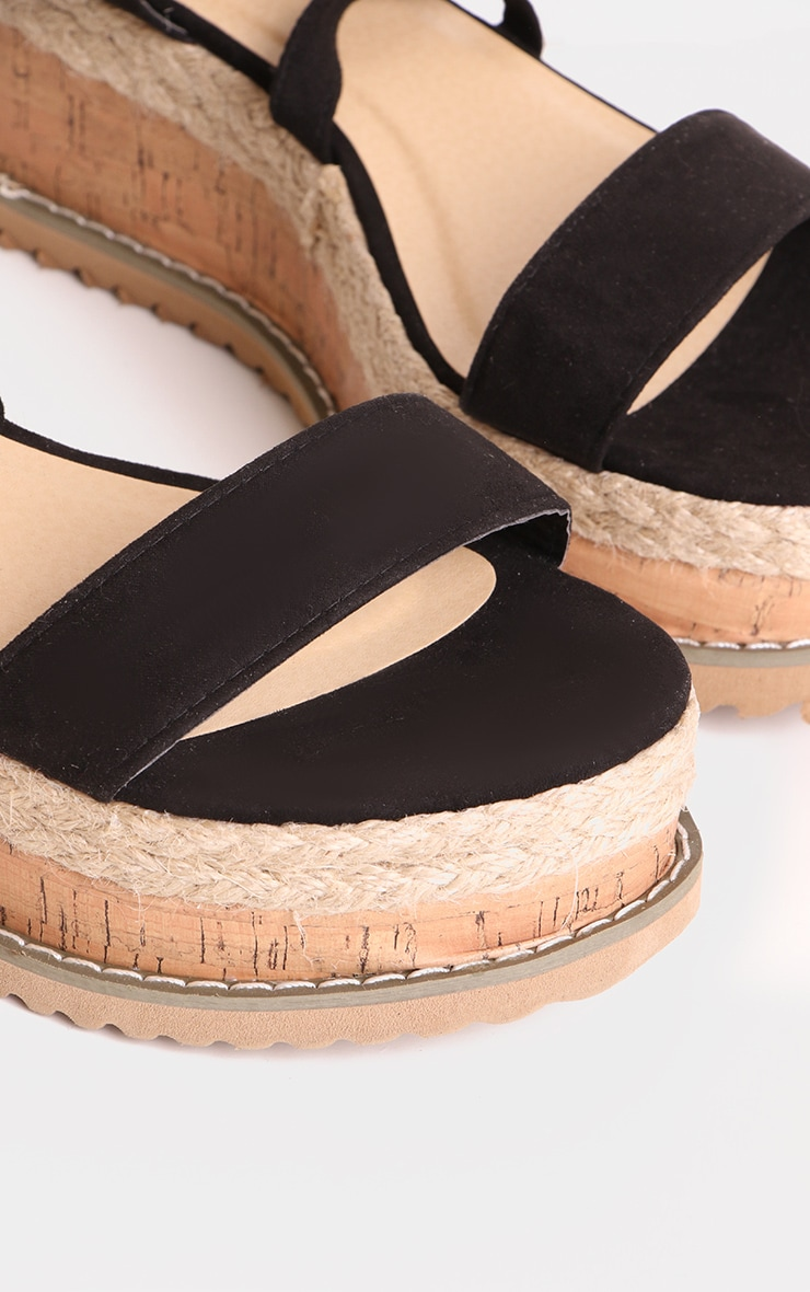 Black Wide Fit Faux Suede Tie Ankle Espadrilles 4