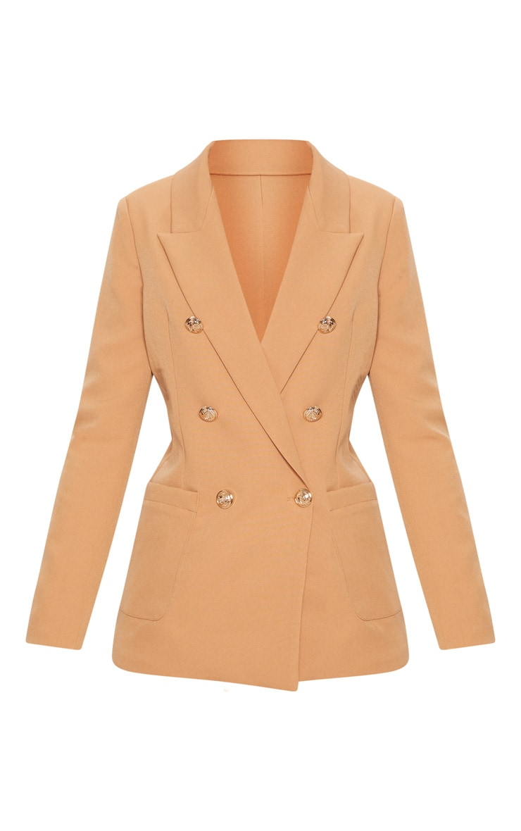 Pari Camel Double Breasted Military Blazer 3