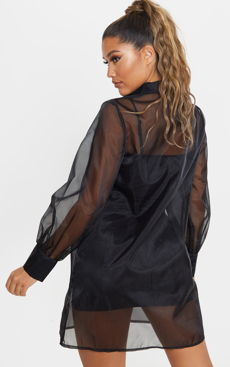 Black Organza Pocket Detail Long Sleeve Shirt Dress 3