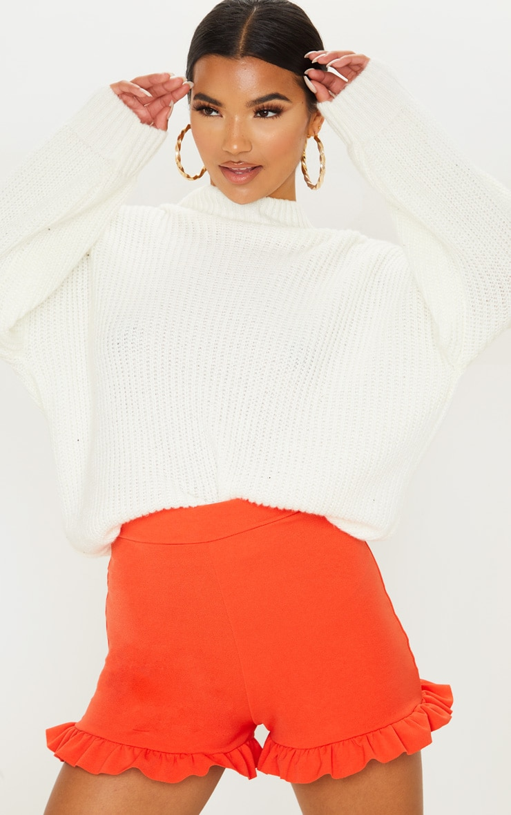 Orange Frill Hem Shorts  6