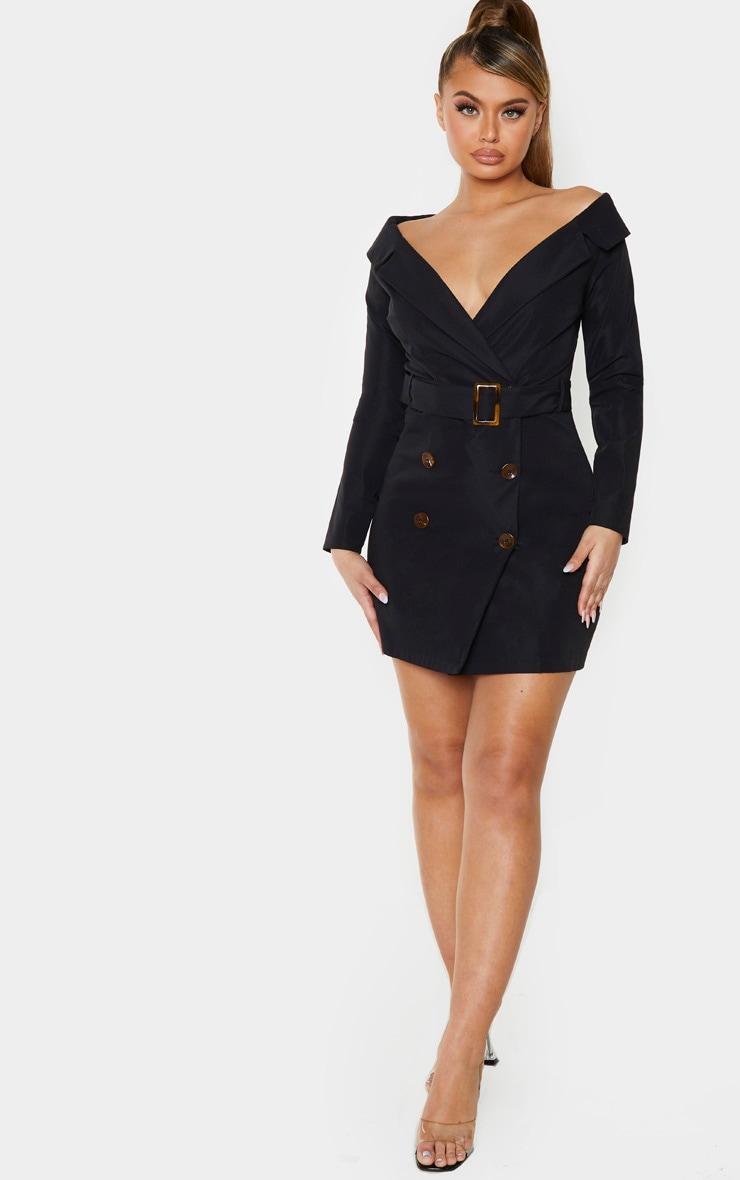 Black Bardot Tortoise Button Belted Blazer Dress 4
