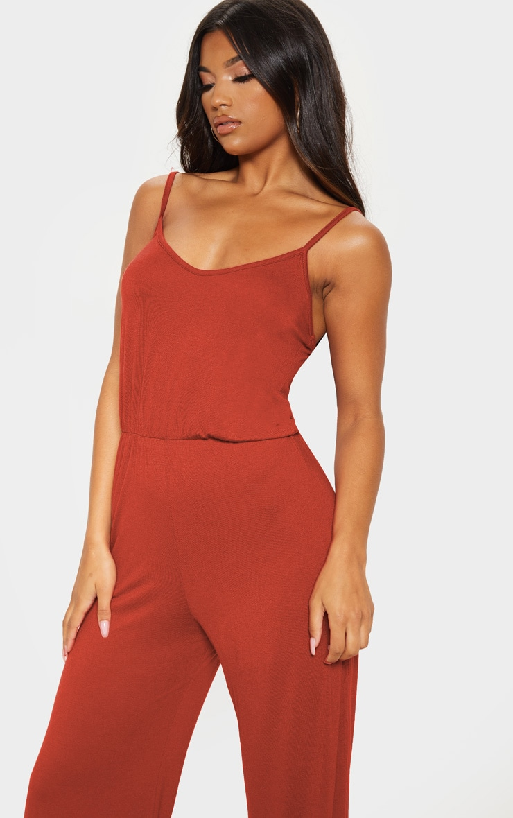 Rust Strappy Jersey Culotte Jumpsuit 5