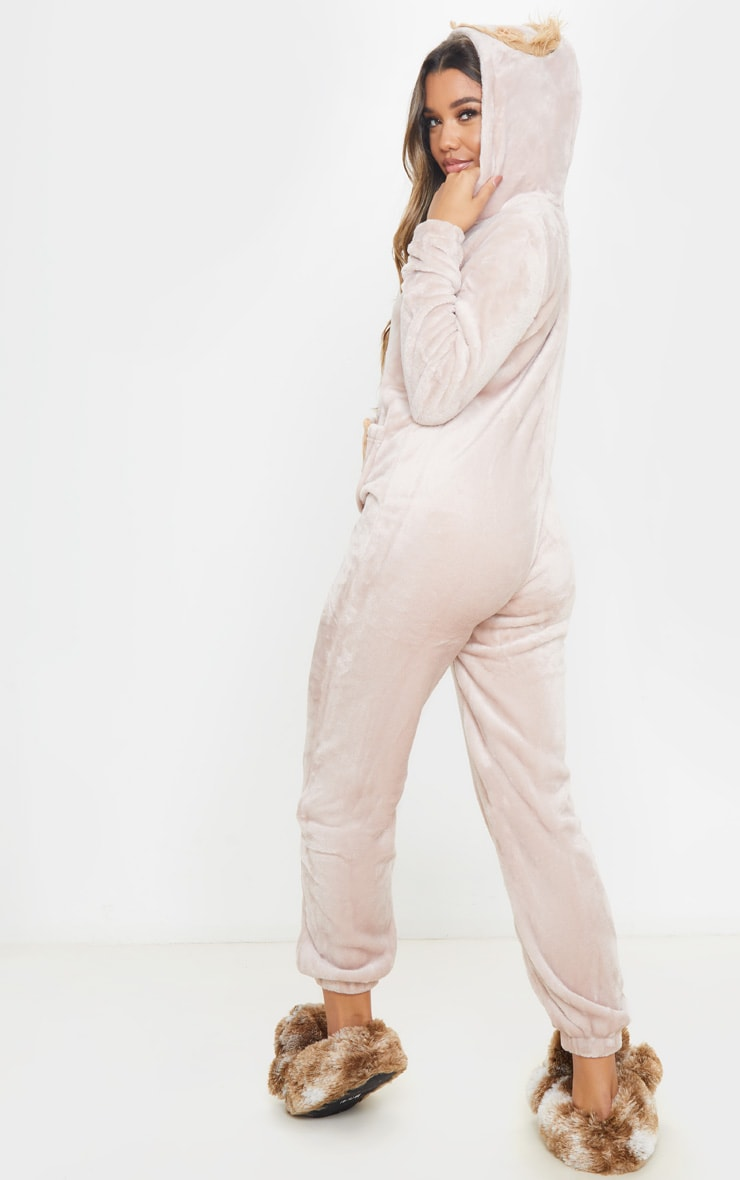 Beige Sloth Hooded Onesie 2